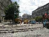 Ремонт трамвайных путей на перекретске Московского проспекта и площади Конституции
