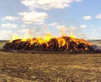 Под Харьковом сгорели несколько тонн сена