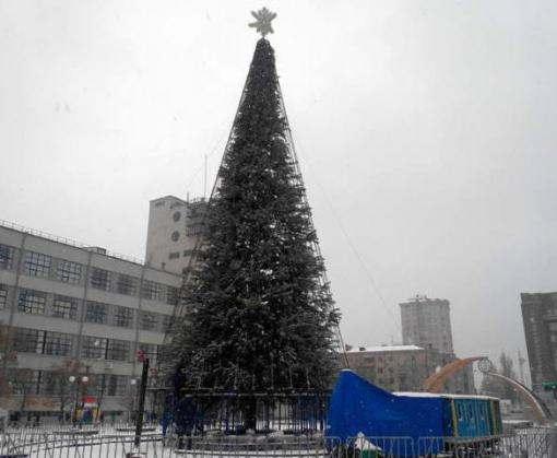 На Привокзальной площади установили елку