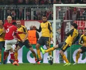 «Бавария» забила пять мячей «Арсеналу» в первом матче 1/8 финала Лиги чемпионов