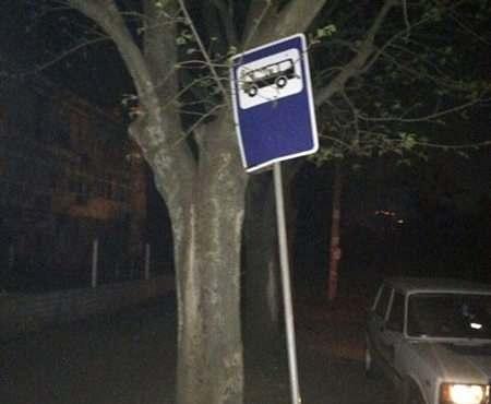 На Алексеевке украли дорожный знак