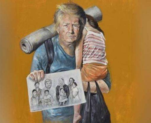 На картинах сирийского художника Трамп, Меркель и Путин стали беженцами