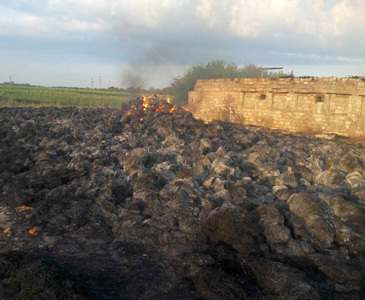 Под Харьковом всю ночь тушили пожар на ферме