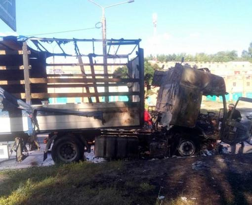 В Харькове на ходу загорелся грузовик