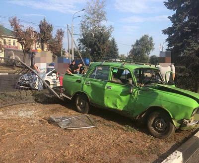 ДТП в Харькове: на Гагарина машина снесла забор