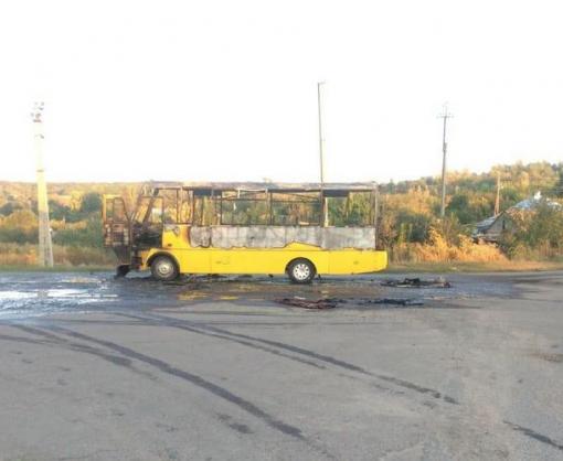 Пожар на Харьковщине: сгорел пассажирский автобус