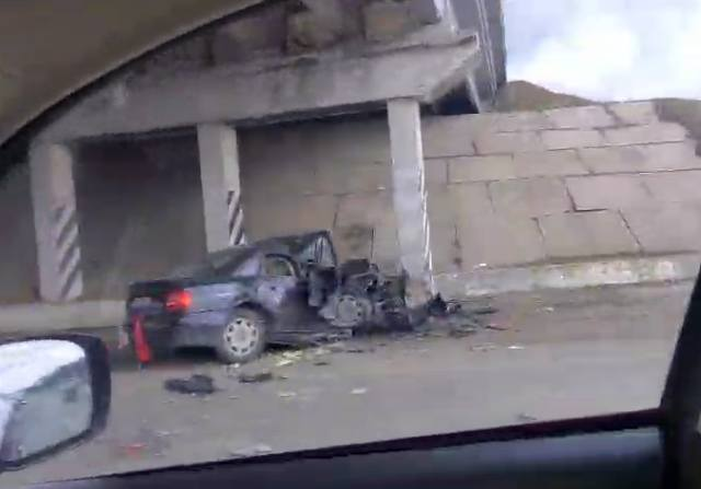 ДТП в Харькове: машина в хлам (видео)