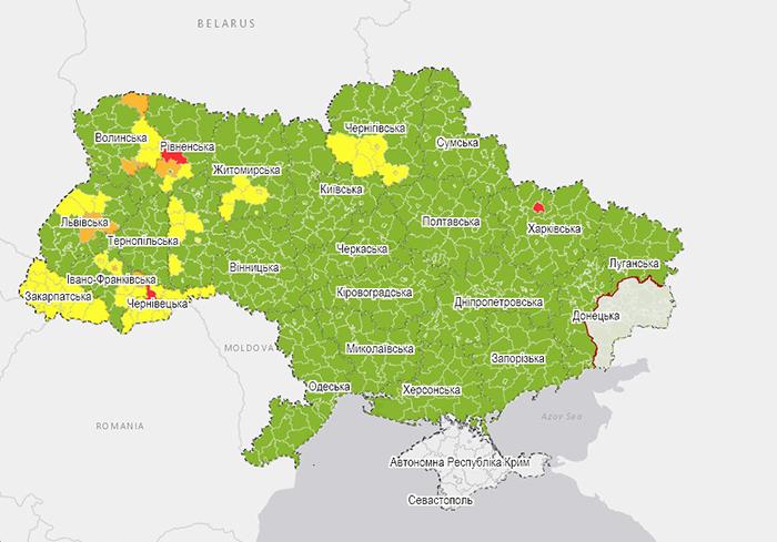 Харьков попал в «красную» зону наивысшего уровня опасности эпидситуации COVID-19